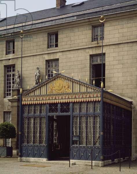 The veranda of main courtyard, Chateau de Malmaison in Rueil-Malmaison, by architects Pierre-Francois-Leonard Fontaine and Charles Percier, France, 19th century