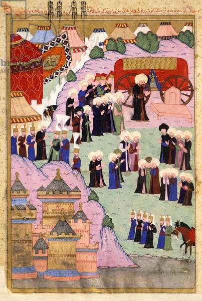 Death of Sultan Suleiman the Magnificent in 1566, miniature, Turkey 16th Century