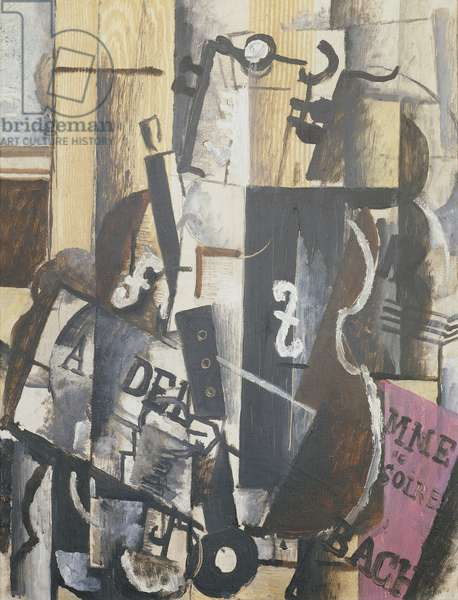 Violin and clarinet on a table, 1913 (oil on canvas)