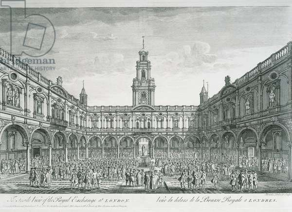 United Kingdom, England, London, View of the Stock Exchange Square, engraving
