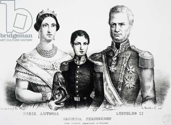 Portrait of Leopold II, Grand Duke of Tuscany (Florence, 1797-Rome, 1870), with his family, engraving