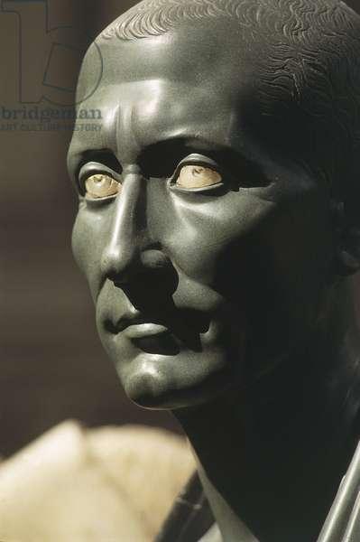 Green schist bust of Julius Caesar with marble eyes, Roman civilisation, Hellenistic art, 1-50 a.d.