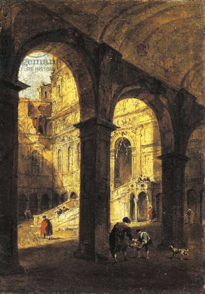 View of the courtyard of the Palazzo Ducale and the Giant's Stairway (Scala dei Giganti),in Venice, ca 1780, by Francesco Guardi (1712-1793), oil on canvas, 26x39 cm.