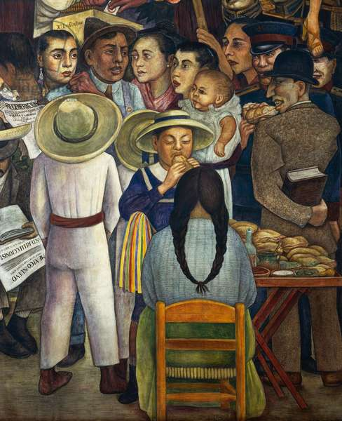 The sandwich seller, detail from Dream of a Sunday afternoon in Alameda Park, 1947, by Diego Rivera (1886-1957), from the Hotel del Prado fresco. Mexico, 20th century.