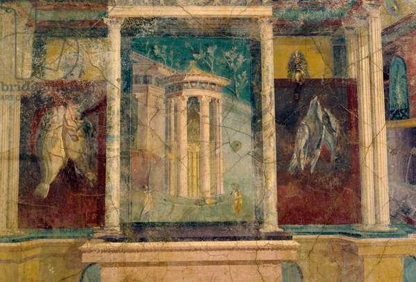 Fresco depicting a circular temple, Pompeii (UNESCO World Heritage List, 1997), Campania, Italy. Roman civilization.