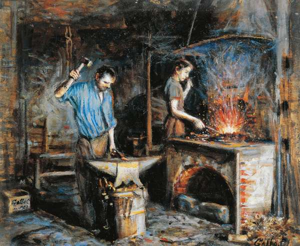 Inside the workshop, 1953, by Carlo Leone Gallo (1875-1960), oil on canvas, 35x40 cm. Italy, 20th century.