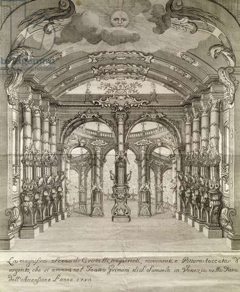 The stage of Teatro San Samuele in Venice, engraving, Italy, 18th century