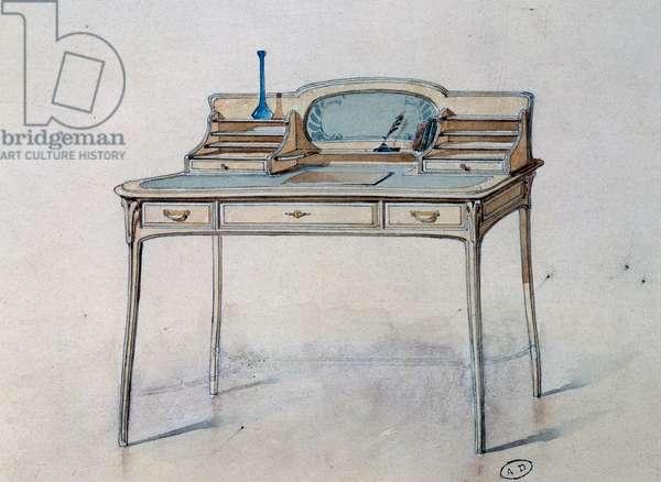 Drawing for an Art Nouveau ladies' writing desk for Bing Atelier (Art Nouveau Workshop), c.1900 (watercolour and pencil)