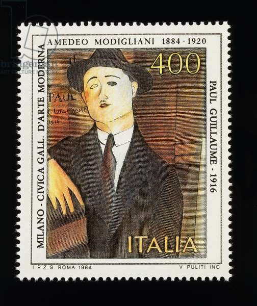 Postage stamp from Italian arts series honoring Amedeo Modigliani (1884-1920), depicting Portrait of Paul Guillaume (1916), 400-lire stamp, 1984, Italy, 20th century