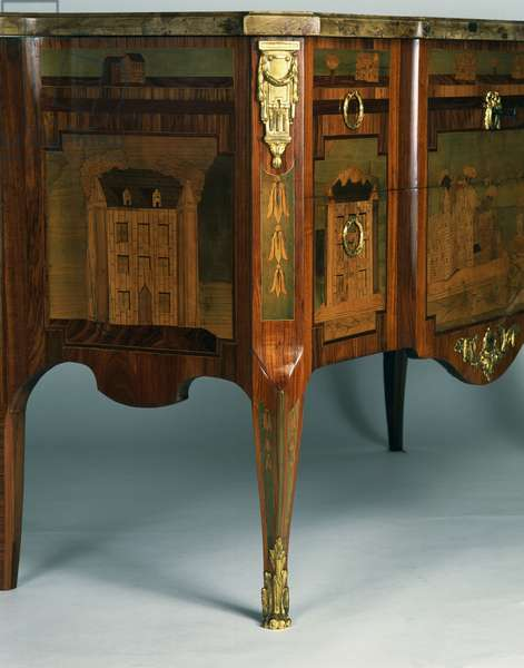 Transitional Louis XV-XVI style oak and spruce commode inlaid with Madagascar rosewood with Breche d' Alep marble, France, 18th century, Detail