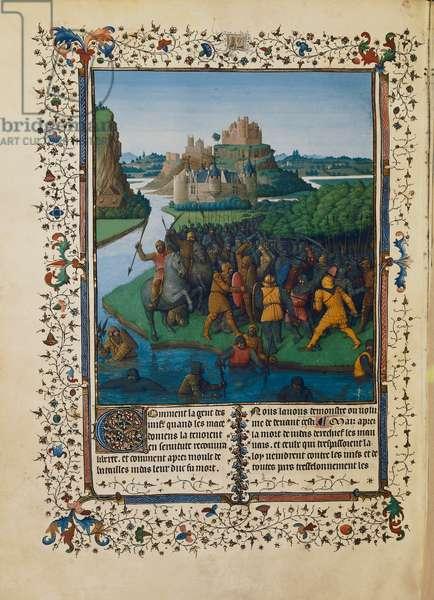Battle of the Maccabees against Bacchides, miniature Ms fr 247 folio 270