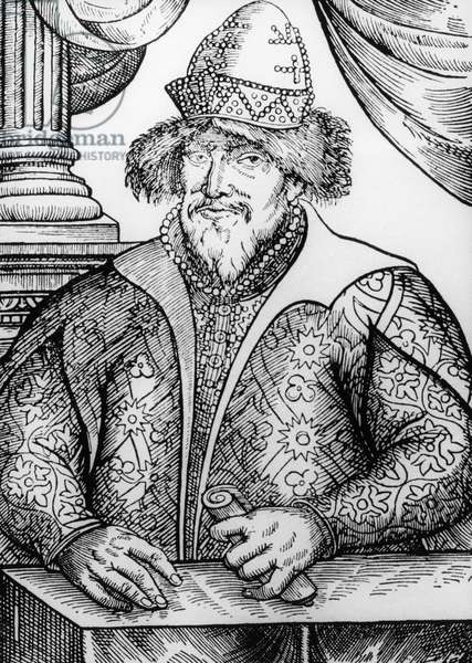 Portrait of Ivan IV Vasilyevich, commonly known as Ivan Terrible or Ivan Fearsome (1530-1584), 1st Tsar of All Russias from 1547, woodcut