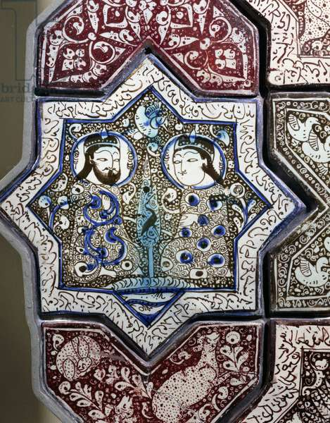Panel, ceramic, from Damghan tomb, Kashan Province, Detail, Persia, 13th-14th century