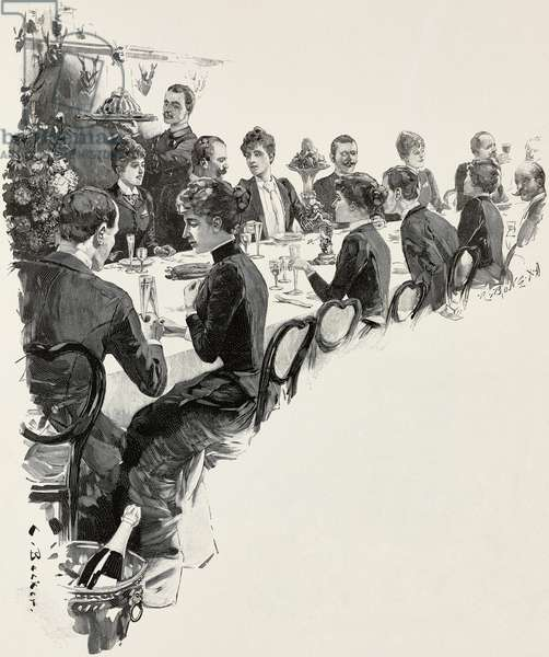 Breakfast, illustration by C Becker, woodcut by Richard Bong (1853-1935) from Moderne Kunst (Modern Art), illustrated magazine published by Richard Bong, 1892-1893, Year VII, No 4, Christmas Issue, Berlin