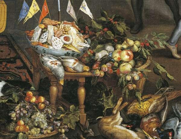 Game, poultry, fruit and meat, detail from Allegory of four elements, by Jan Brueghel Elder, Velvet Bruegel (1568-1625)