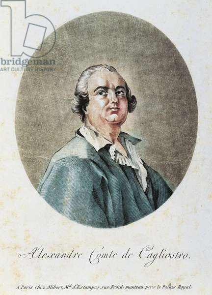 Alessandro Count Cagliostro, pseudonym of Giuseppe Balsamo (1743-1795), Italian alchemist and occultist, Engraving