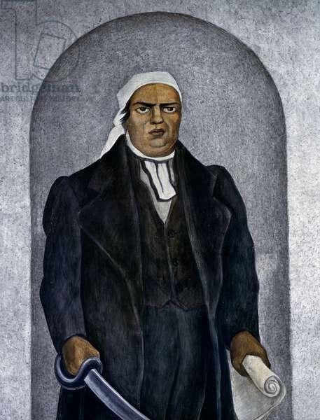 The Mexican patriot Jose Maria Morelos (1765-1815), detail from the History of Cuernavaca and Morelos frescoes, 1929-1930, by Diego Rivera (1886-1957), Palace of Cortes, Cuernavaca, Mexico. 20th century.