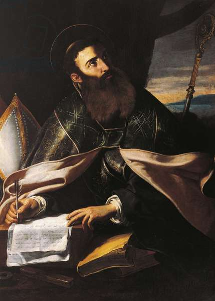 Portrait of St. Augustine of Hippo, by Cecco del Caravaggio (active circa 1610-1620)