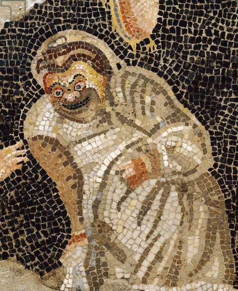 Mosaic depicting masked actor, from Villa of Cicero at Pompeii, (UNESCO World Heritage List Site, 1997), Campania, Roman Civilization, 2nd Century BC