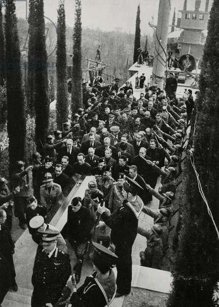 Gabriele D'Annunzio funeral cortege, Vittoriale degli Italiani, Gardone Riviera, Italy, from L'Illustrazione Italiana, Year LXV, No 11, March 13, 1938