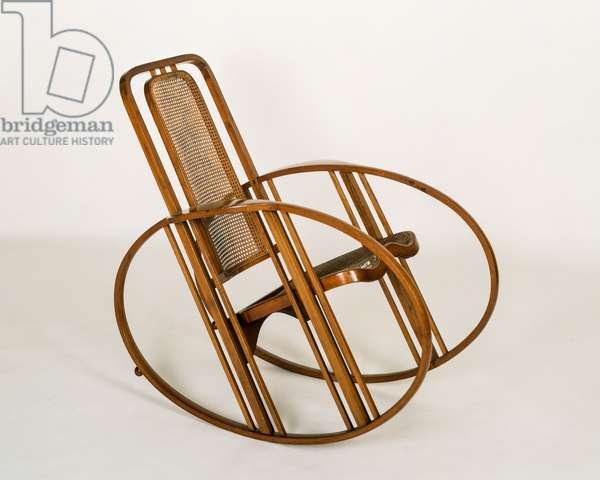 Bentwood rocking chair, with woven seat and back, Jungdestil, Austria, 1905-10
