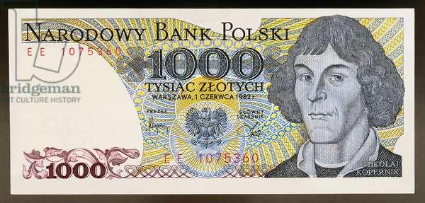 1000 zloty banknote, 1982, obverse, Nicolaus Copernicus (1473-1543), Poland, 20th century
