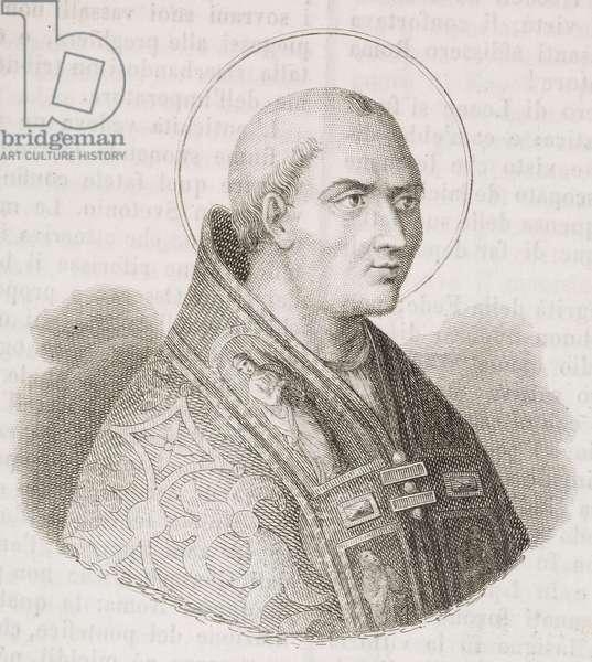 Portrait of Pope Saint Leo I (circaa 390-461), engraving from L'album, giornale letterario e di belle arti, September 9, 1848, Year 15