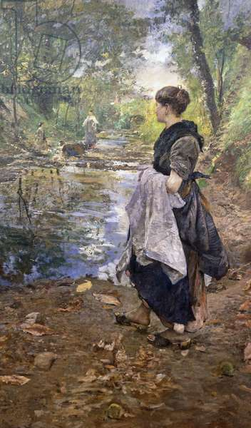 Laundress in Brianza, by Emilio Gola (1891-1923), oil on canvas.