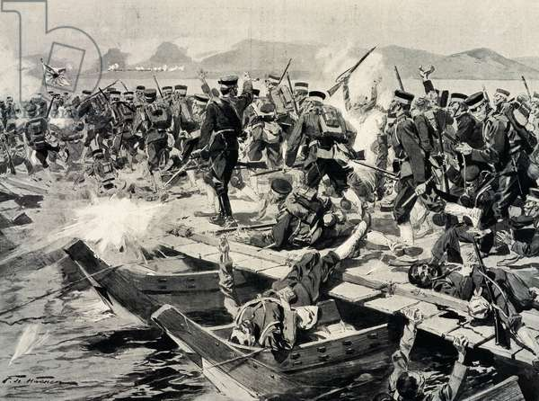 Japanese troops crossing Yalu River under Russian fire, April 30-May 1, 1904, illustration from Monde Illustre, Russo-Japanese War, North Korea, 20th century
