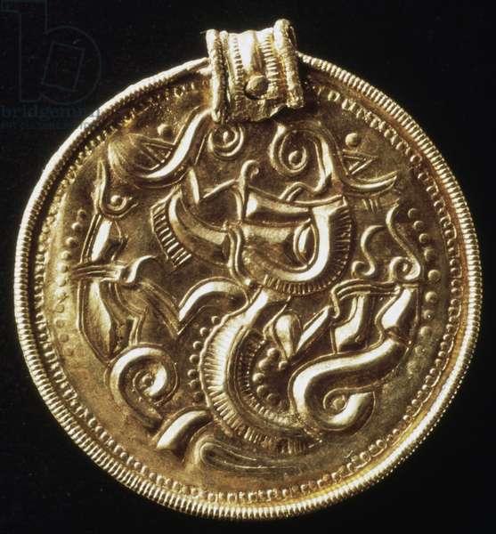 Gold medallion, from Island of Gotland, Sweden, Scandinavian civilization, 5th -6th century