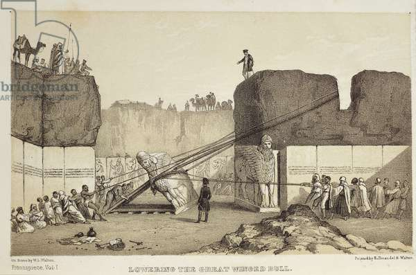 Transportation of a human headed winged bull during the Henry Layard excavations at Nineveh, 1867 (engraving)