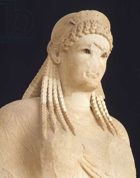 Kore by Antenore, sculpture of archaic age from Acropolis in Athens,Greece, Greek Civilization, 510-520 BC