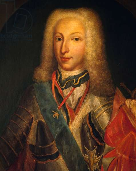 Portrait of Charles of Bourbon as young (1716-1788), King of Naples and then King of Spain as Charles III, painted by unknown artist, first half of 18th century