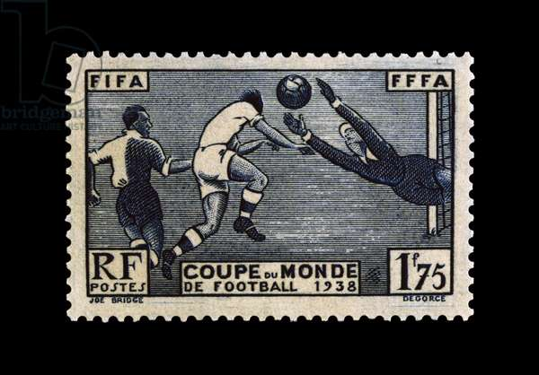 Postage stamp commemorating 1938 FIFA World Cup, France, 20th century