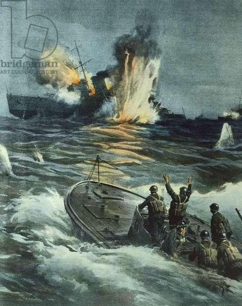 British cruiser sunk by Italian MAS, June 1, 1941, by Achille Beltrame (1871-1945), illustration from La Domenica del Corriere