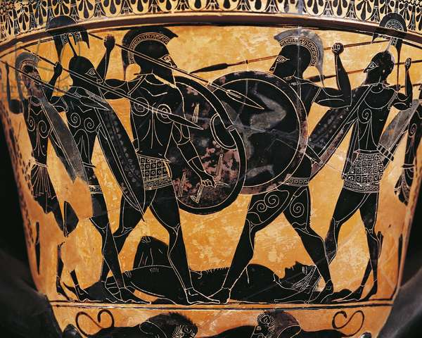 Greek civilization, Black-figure pottery, Krater depicting fight for the body of Patroclus, From Farsala, Greece