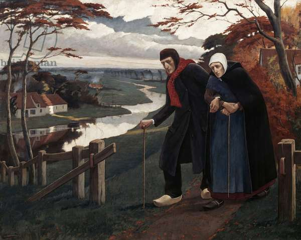 The End of Autumn (The Blind), 1899, by Eugene Laermans (1864-1940), oil on canvas, 120x150 cm