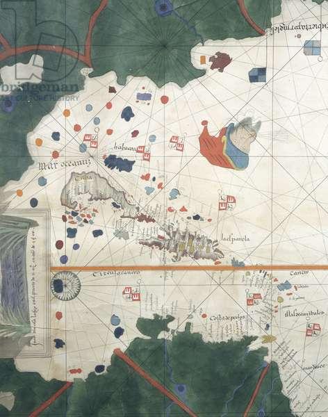 Islands of Central America, by Juan de la Cosa, nautical chart, 16th century