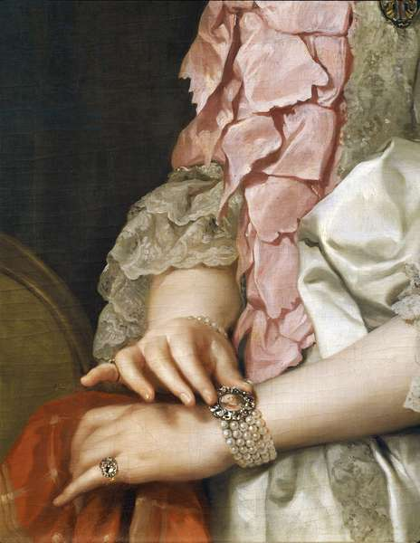 Portrait of Maria Luisa of Bourbon on the Occasion of her Engagement to be Married, by Anton Raphael Mengs, detail, Circa 1764, oil on canvas, 1728-1779, 85x65 cm