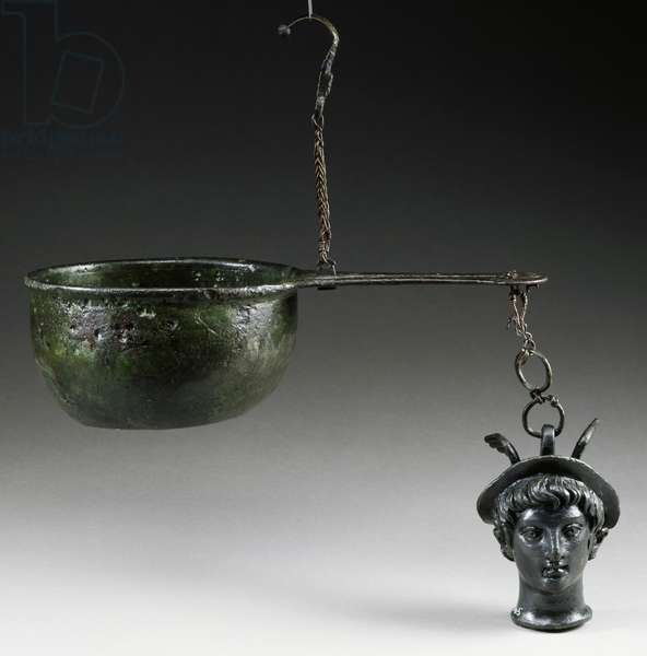 Bronze steelyard balance, patera with functioning plate, handle with hook for suspension and short chain at end with head of youthful Mercury wearing petasos, artifact uncovered in Pompeii, Campania, Italy, Roman Civilization, 1st century