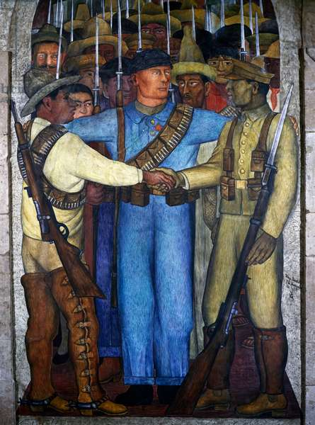 A united front, by Diego Rivera (1886-1957), detail from the Ministry of Education frescoes (1923-1928), Mexico City. Mexico, 20th century.