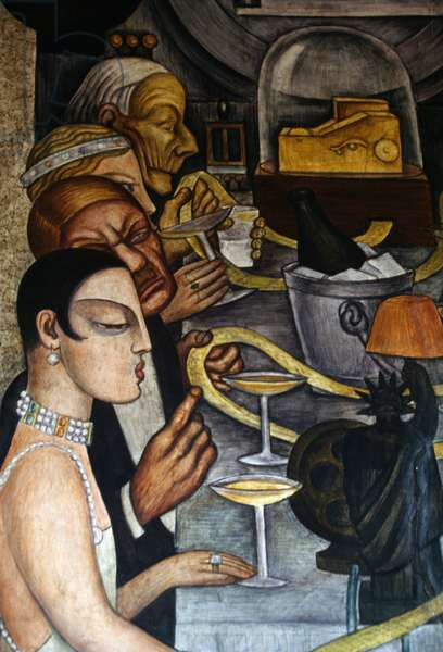 Banquet of Wall Street, detail from murals by Diego Rivera (1886-1957), Ministry of Public Education, Mexico City, Mexico
