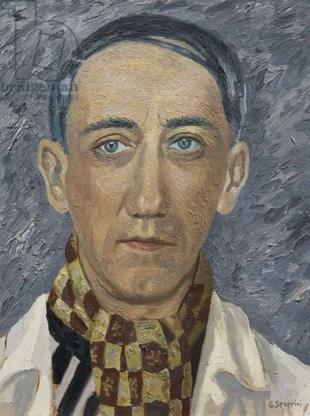 Self-portrait, by Gino Severini (1883-1966), oil on panel, 41x32 cm. Italy, 20th century.