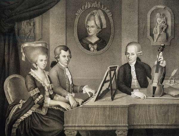 Mozart family at piano, engraving painting by Napomuceno, 1780