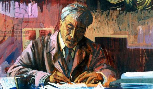 Portrait of Boris Leonidovich Pasternak (Moscow, 1890-Peredelkino, 1960), Russian writer and poet, Nobel Prize in Literature in 1958, illustration