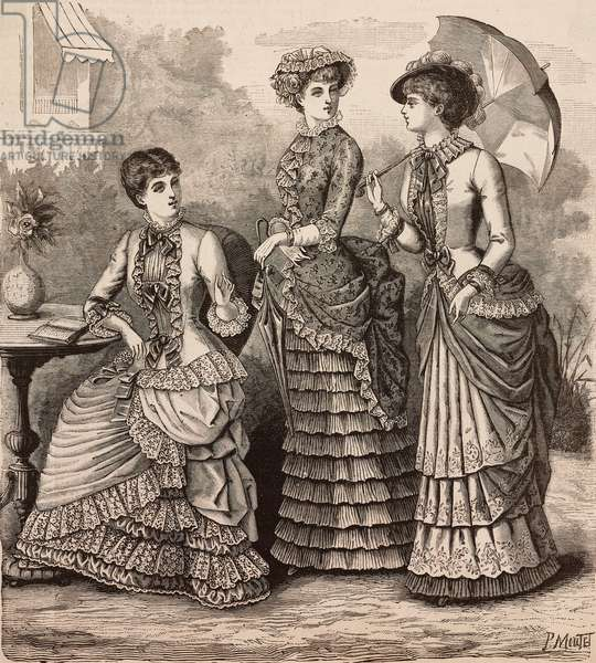 Women wearing batiste, Faille and Pompadour and double voile and Surah dresses, Madame Coussinet designs, engraving from La Mode Illustree, No 30, July 23, 1882
