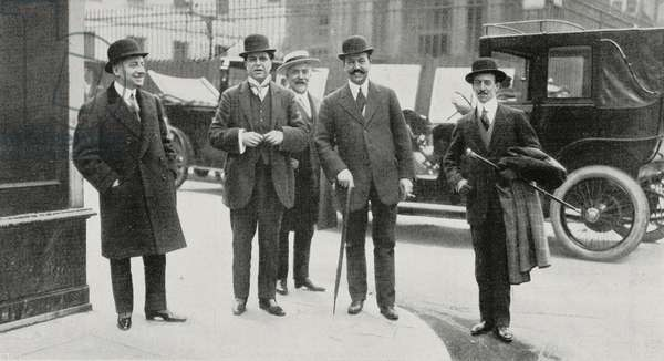 Gabriele D'Annunzio, Pietro Mascagni, Renzo Sonzogno and Tom Antongini in Paris, France, from L'Illustrazione Italiana, Year XXXIX, No 20, May 19, 1912