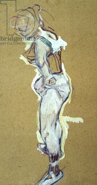 Trapeze artist adjusting her shirt, (drawing)