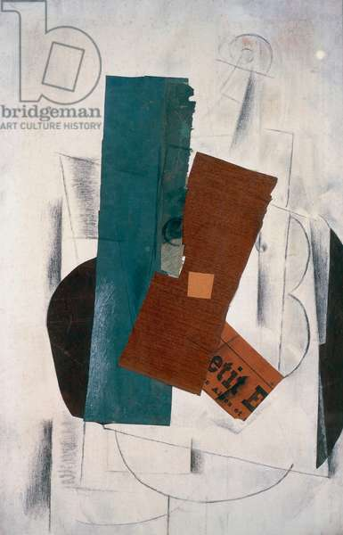 Violin and Newspaper, 1913, by Georges Braque (1882-1963), collage. France, 20th century.