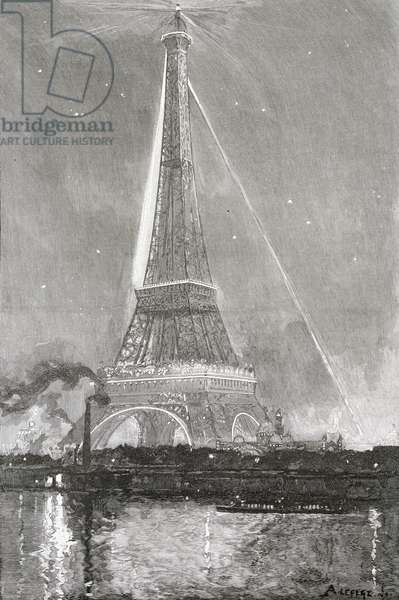 Play of light on Eiffel Tower during Paris World Exposition, 1889, France, 19th century